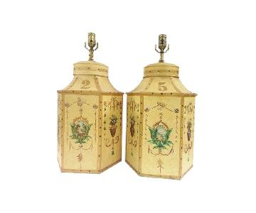 Chinese Export English Tea Caddy Lamps