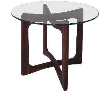 Adrian Pearsall Glass & Walnut Side Table
