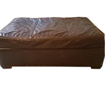 Room & Board Brown Leather Ottoman/coffee table