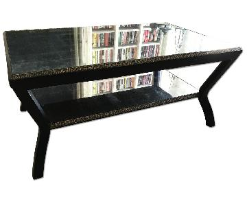 Eglomise Mirrored Cocktail Table w/ Greek Key Detail