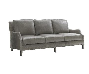 Lexington Oyster Bay Ashton Leather Sofa in Misty Gray