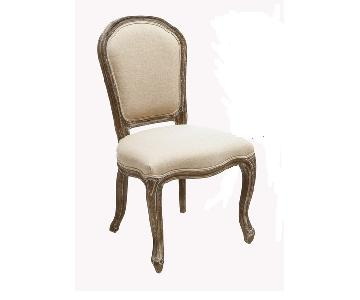 Fabric Upholstered Weathered Wood Dining Chairs