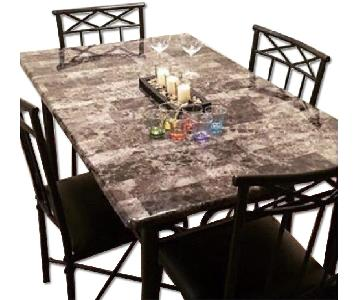 Stone Top Dining Table w/ 4 Metal Chairs