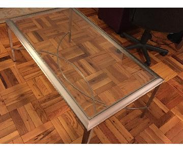 Ethan Allen Glass & Metal Coffee Table