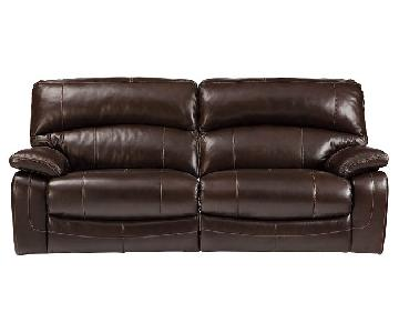 Ashley's Espresso Leather Recliner Couch