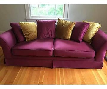 Burgundy & Gold Accent Sofa + Chair