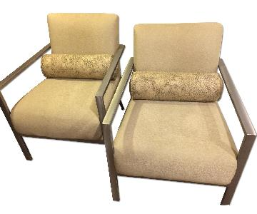 Joy of Living Creative Interiors Arm Chairs in Neutral Fabri