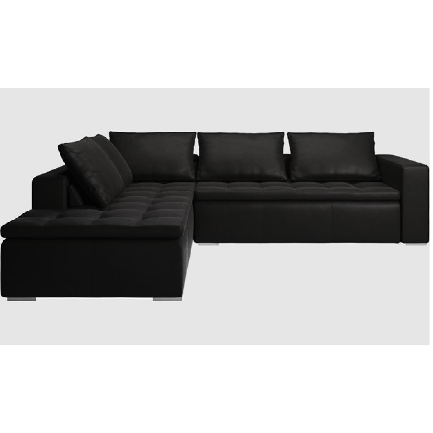 BoConcept Black Mezzo Leather Sectional Couch AptDeco