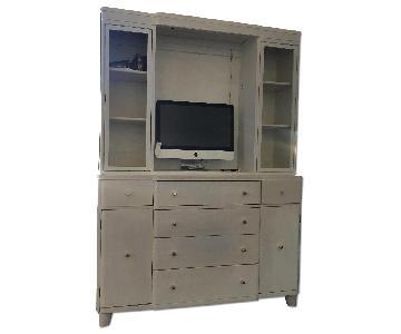 Vintage Solid White Oak Secretary Desk