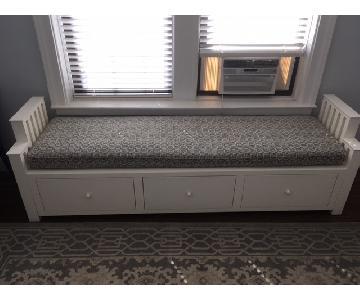 Ballard Designs White Wooden Window Bench