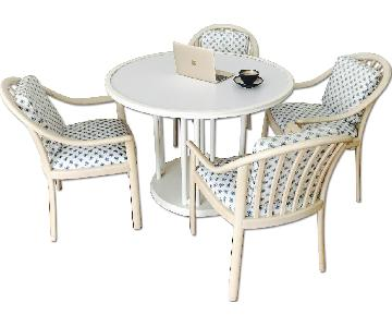 Crate & Barrel round Wood Dining Table w/ 4 Chairs