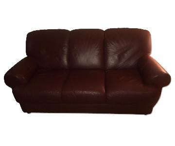 Macy's Burgundy Leather 3 Seater Sofa