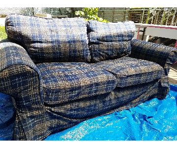 Ikea Checkered Blue Loveseat w/ Removal Slipcovers