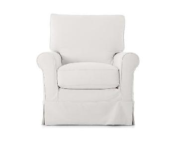 Crate & Barrel Cream Cotton Twill Slipcovered Armchair
