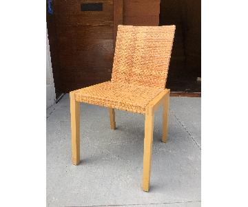 Solid Wood & Rattan Modern Dining Chairs