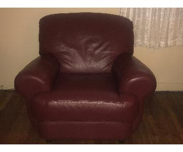 Macy's Burgundy Leather Arm Chair