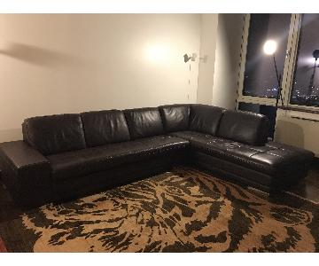 Brown Leather L Shape Sectional Couch