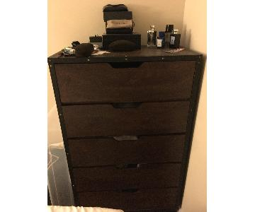 Wood & Metal 5 Drawer Dresser + Nightstand
