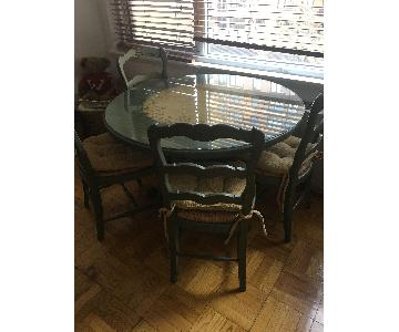 Custom Glass Top Hand Painted Round Dining Table w/ 4 Chairs