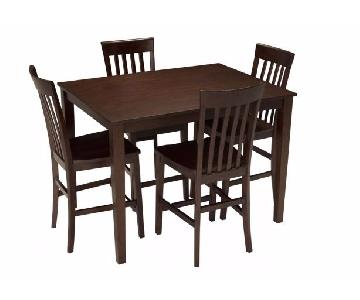 Raymour & Flanigan 5-Piece Counter Height Mahogany Dining Se