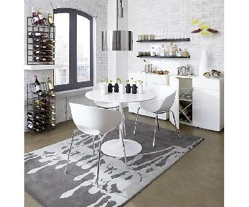 CB2 Odyssey White Table w/ 4 Orbit Chairs