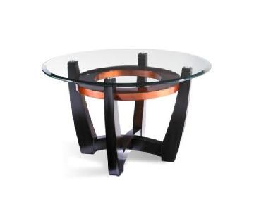 Raymour & Flanigan Round Glass Top Cocktail Table