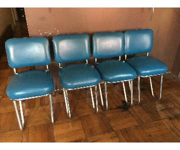 Vintage Retro Blue Leather Dining Chairs