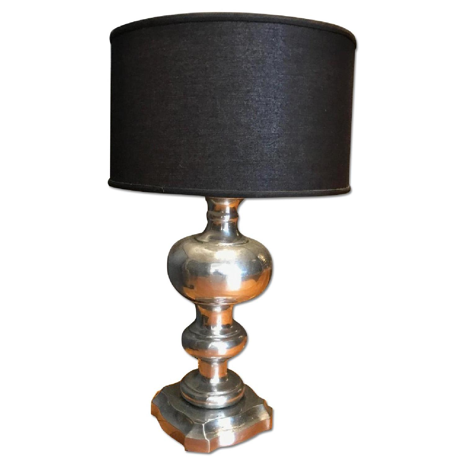 Antique pewter silver table lamp w black shade aptdeco antique pewter silver table lamp w black shade geotapseo Image collections