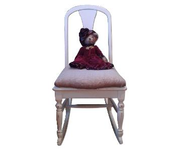 Hand Painted & Upholstered Antique Children's Rocking Chair