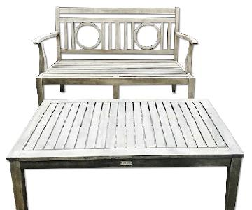 Safavieh Montclair Outdoor Table w/ 2 Chairs + 1 Bench