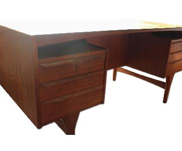 Danish Modern Teak Desk w/ Drop Down Bar