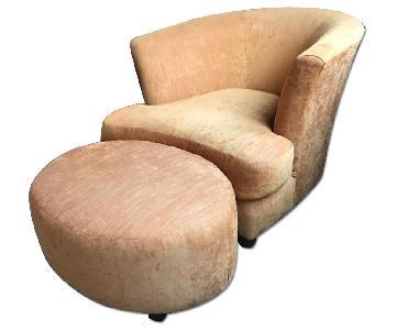 Orange Accent Chair & Ottoman