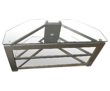 Premier RTA 3 Shelf Glass TV Stand