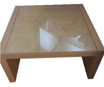 Ikea Pine & Glass Coffee Table