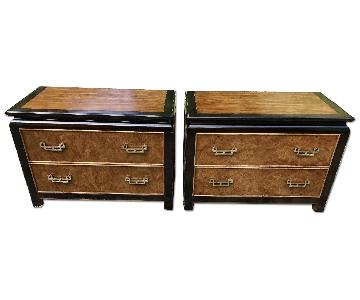 Asian Burlwood Chinoiserie His/Her Short Dressers/Nightstand