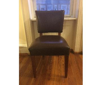 Room & Board Brown Leather Dining Chairs