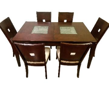 Raymour & Flanigan Cherry Wood & Glass Dining Table w/ 6 Cha