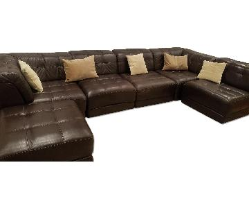 Macy's Dark Brown Leather 3 Piece Sectional Sofa