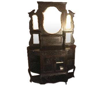 Antique Beveled Mirror Curio Cabinet