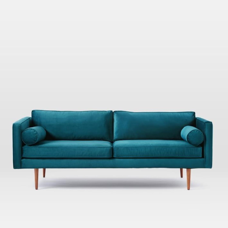 West Elm Monroe Mid Century Velvet Sofa AptDeco
