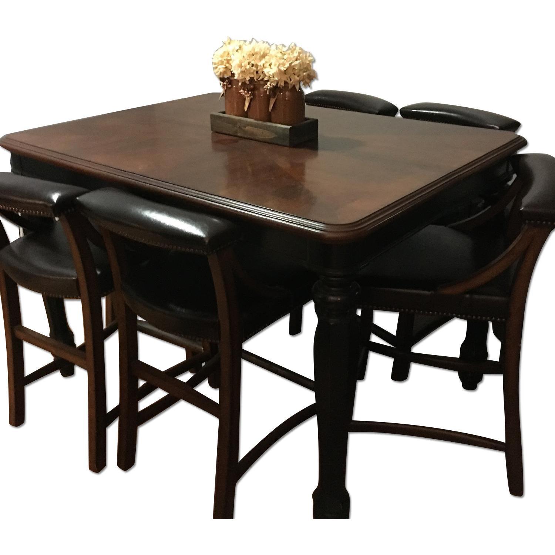 ashley 39 s brown black 7 piece dining room set aptdeco. Black Bedroom Furniture Sets. Home Design Ideas