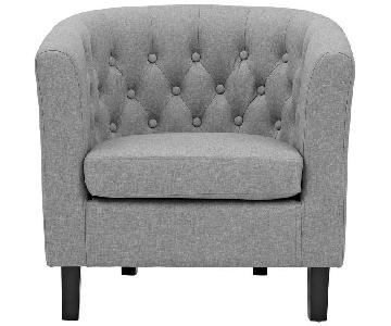 The Smart Sofa Chesterfield Linen Arm Chair in Gray