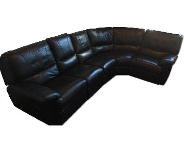 Black Leather 5-Piece Sectional Couch