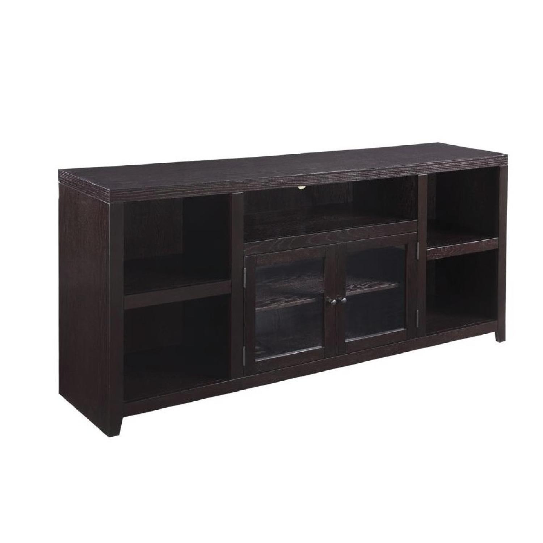 Tv Console W Storage Shelves Amp Tempered Glass Doors Aptdeco