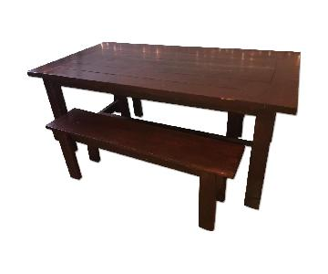 Custom Wood Farmhouse Rustic Dining Table w/ 2 Benches