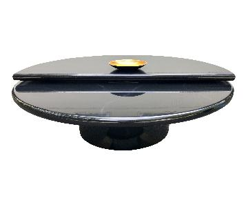 Vintage Black Lacquer Bi-Level Swivel Coffee Table