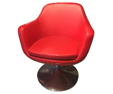 Crate & Barrel Faux Leather Red Chair
