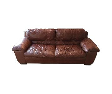 Bob's Brown Leather Sofa