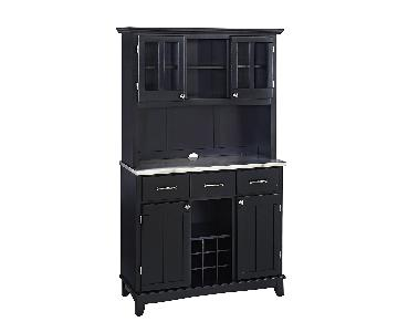 Home Styles Black & Stainless China Cabinet w/ Wine Storage