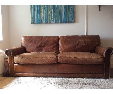 Restoration Hardware Leather Sofa w/ 2 Ottomans